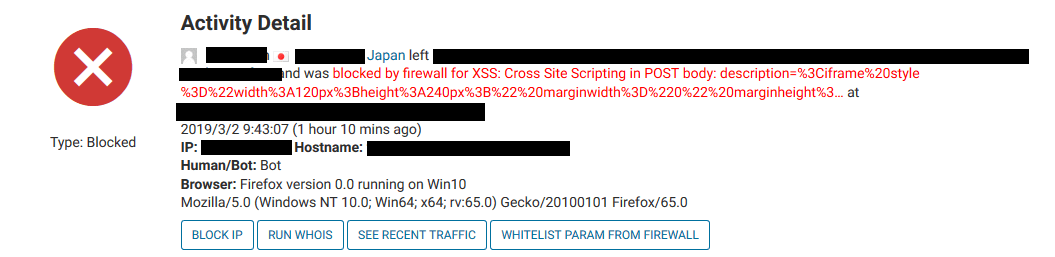blocked by firewall for XSS: Cross Site Scripting