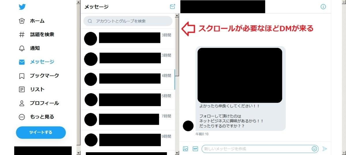 twitter勧誘ダイレクトメッセージ