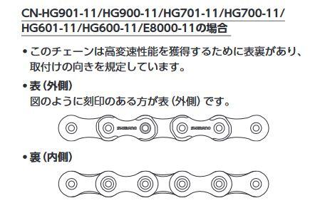 シマノ11速チェーン取付向き